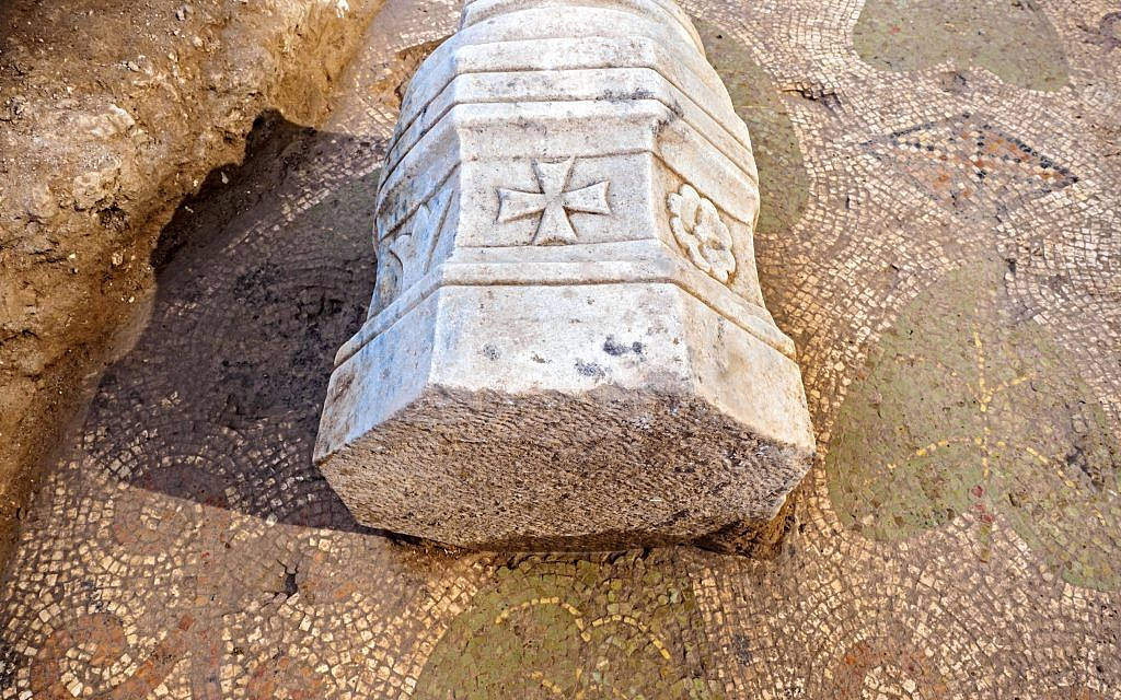 Pillar found at a Byzantine-period church complex found in Ramat Beit Shemesh, 2017. (Assaf Peretz, Israel Antiquities Authority)