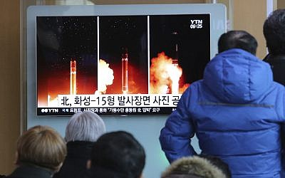 Illustrative: A TV screen shows a local news program reporting a North Korea missile launch, at the Seoul Railway Station in Seoul, South Korea, November 30, 2017. (AP/Ahn Young-joon)