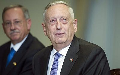 US Defense Secretary Jim Mattis answers a reporter's question during a meeting with Libyan Prime Minister Fayez Serraj at the Pentagon, Thursday, November 30, 2017 (AP Photo/Cliff Owen)