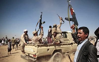Illustrative: Tribesmen loyal to Houthi rebels chant slogans during a gathering aimed at mobilizing more fighters into battlefronts to fight pro-government forces, in Sana'a, Yemen, January 3, 2017. (AP Photo/Hani Mohammed)
