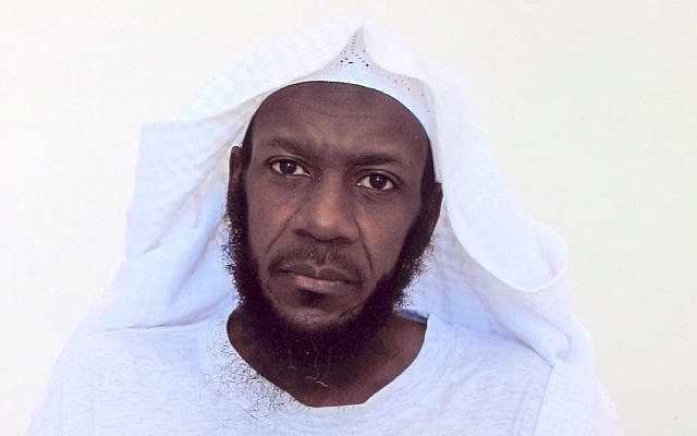 This undated photo taken by the International Red Cross and released by lawyer Walter Ruiz, shows his client Mustafa al Hawsawi posing for a portrait while he's a detainee at the Guantanamo US Naval Base in Guantanamo, Cuba. (Mustafa al-Hawsawi via AP)