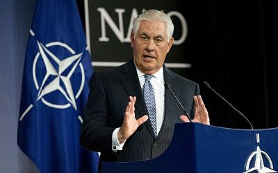 US Secretary of State Rex Tillerson speaks during a media conference at NATO headquarters in Brussels on Wednesday, Dec. 6, 2017.  (AP Photo/Virginia Mayo)