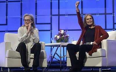 Academy Award-winning actress Meryl Streep, left, and feminist icon Gloria Steinem appear before an audience, December 7, 2017, during the 13th annual Massachusetts Conference for Women, in Boston. (AP Photo/Steven Senne)
