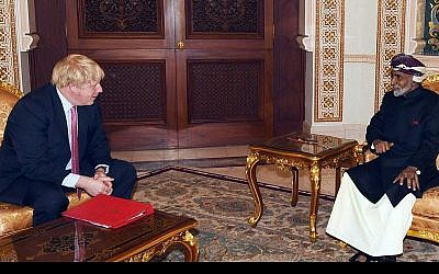 In this photo released by the state-run Oman News Agency, British Foreign Secretary Boris Johnson, left, meets Oman's ruler, Sultan Qaboos bin Said, right, in Muscat, Oman, Friday, Dec. 8, 2017 (Oman News Agency via AP)