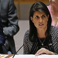 In a September 28, 2017 photo, United Nations Ambassador for the US Nikki Haley address UN Security Council meeting on Myanmar's Rohingya crisis, at UN headquarters in Washington. (AP Photo/Bebeto Matthews, File)