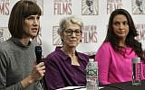 Rachel Crooks, left, Jessica Leeds, center, and Samantha Holvey attend a news conference, December 11, 2017, in New York to discuss their accusations of sexual misconduct against US President Donald Trump. (AP Photo/Mark Lennihan)