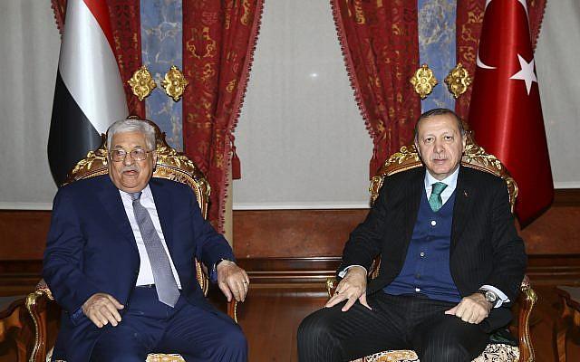 Turkish President Recep Tayyip Erdogan, right, meets with Palestinian Authority President Mahmoud Abbas, left, in Istanbul, on December 12, 2017. (Kayhan Ozer/Pool Photo via AP)