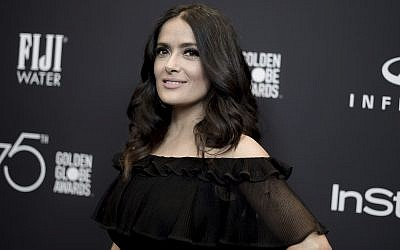 Actress Salma Hayek attends the HFPA and InStyle celebration at the 2018 Golden Globe Awards Season in West Hollywood, California, November 15, 2017. (Richard Shotwell/Invision/AP)