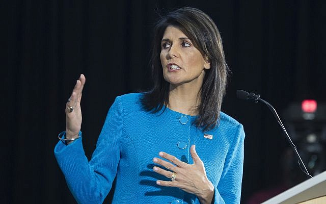 US Ambassador to the UN Nikki Haley during a press briefing at Joint Base Anacostia-Bolling, December 14, 2017, in Washington. (AP Photo/Cliff Owen)