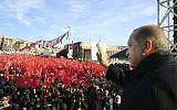 Turkey's President Recep Tayyip Erdogan, waves to supporters during a rally in Istanbul, Friday, Dec. 15, 2017. (Kayhan Ozer/Pool Photo via AP)