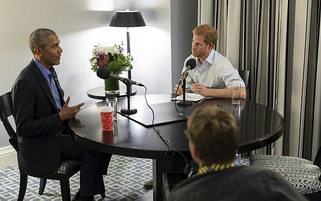 In this undated photo issued on December 17, 2017, Britain's Prince Harry, right, interviews former US president Barack Obama. (Kensington Palace courtesy of The Obama Foundation via AP)