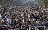 Supporters of the Pakistan Defense Council, an alliance of hardline Islamist religious parties chant slogans during a rally against America, in Lahore, Pakistan, December 17, 2017. (K.M. Chaudary/AP)