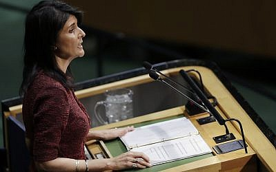US Ambassador to the United Nations Nikki Haley speaks at the UN General Assembly, Thursday, Dec. 21, 2017, at United Nations headquarters. (AP Photo/Mark Lennihan)