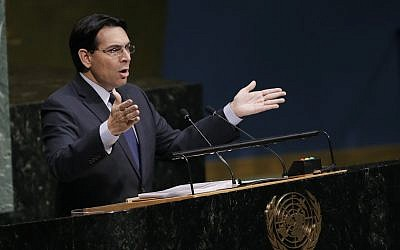 Danny Danon, Israel's ambassador to the UN, speaks at the General Assembly, December 21, 2017, at United Nations headquarters. (AP Photo/Mark Lennihan)