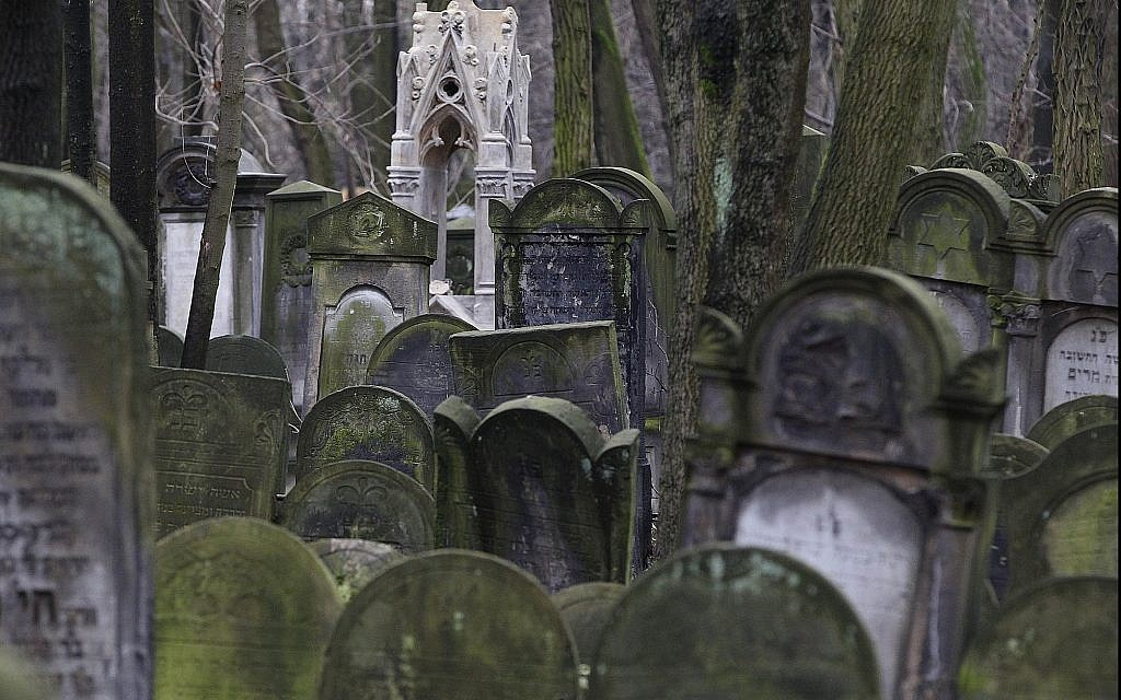 Illustrative: Gravestones at the Jewish cemetery on Okopowa Street in Warsaw, Poland, on December 22, 2017. (AP Photo/Czarek Sokolowski)