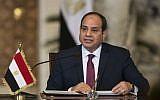 Egyptian President Abdel-Fattah el-Sissi speaks during a news conference in Cairo, Egypt, on December 11, 2017. (AP Photo/Alexander Zemlianichenko, Pool)