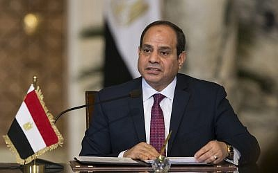 Egyptian President Abdel-Fattah el-Sissi speaks during a news conference in Cairo, Egypt, on December 11, 2017. (AP Photo/Alexander Zemlianichenko, Pool)