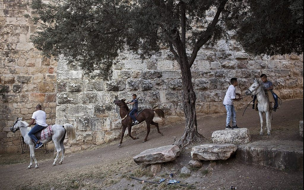 In this photo from June 27, 2017, Palestinians ride on horses during the Eid al-Fitr holiday outside Damascus Gate in Jerusalem. (AP Photo/Oded Balilty)