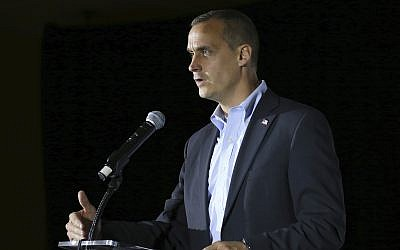 In this Nov. 9, 2017, file photo, Corey Lewandowski, the former campaign manager for President Donald Trump, speaks during an event in Manchester, N.H. (AP Photo/Mary Schwalm, File)