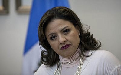 Guatemala's Foreign Minister Sandra Jovel listens questions during a news conference in Guatemala City, December 26, 2017. (AP Photo/Moises Castillo)