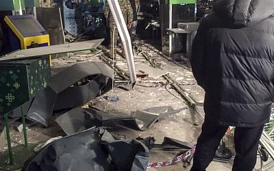 This photo provided by the Information Center of the Russian National Antiterrorism Committee shows the damage inside a supermarket after an explosion, in St. Petersburg, Russia on December 28, 2017. (National Antiterrorism Committee via AP)