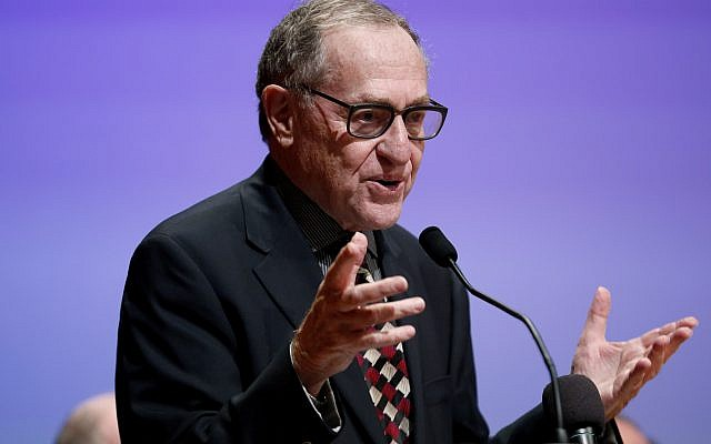 Alan Dershowitz toasts Avital Sharansky, not seen, at the American Jewish Historical Society 2013 Emma Lazarus Statue of Liberty Awards event, Tuesday, May 28, 2013, in New York. (John Minchillo/AP Images for American Jewish Historical Society)