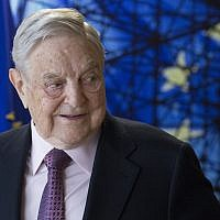 George Soros, Founder and Chairman of the Open Society Foundation, at a meeting at EU headquarters in Brussels on Thursday, April 27, 2017. (Olivier Hoslet, Pool Photo via AP)