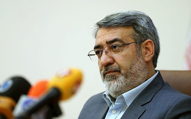 Iranian Interior Minister Abdolreza Rahmani Fazli speaks during a press conference in Tehran, Iran, April 13, 2015. (Ebrahim Noroozi/AP)