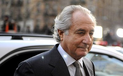 Bernie Madoff arriving at Manhattan federal court, March 12, 2009. (Stephen Chernin/Getty Images via JTA)
