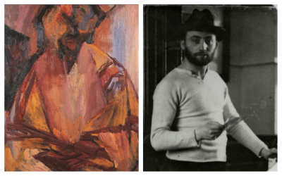 Left, David Bomberg's final self-portrait. At right, 'Portrait of David Bomberg Painting' by Henny Handler. (Courtesy Pallant House Gallery)
