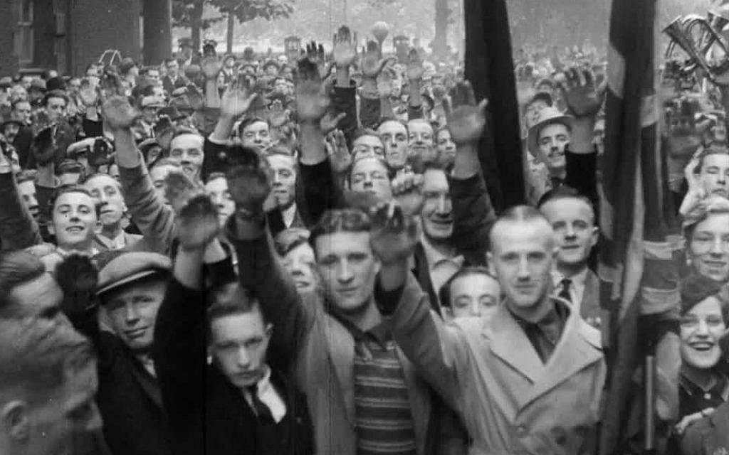 A photo of the British Union of Fascists, giving the fascist salute, on October 3, 1937. (Courtesy Jewish Britain on Film)