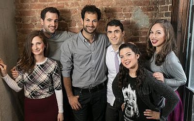 The cast of 'Soon by You' from left: Sara Scur, Nathan Shapiro, Noam Harary, Danny Hoffman, Jessica Schechter, and Leah Gottfried. (Courtesy/Abbie Sophia)