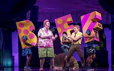 Danny Skinner, left, as Patrick Star and Ethan Slater as SpongeBob SquarePants perform in 'SpongeBob SquarePants: The Broadway Musical.' (Joan Marcus/via JTA)