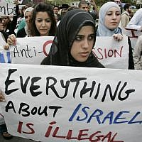 Students protest at an anti-Israel demonstration at the University of California, Irvine. (Mark Boster/Los Angeles Times via Getty Images/JTA)