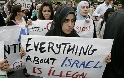 Illustrative: Students protest at an anti-Israel demonstration at the University of California, Irvine. (Mark Boster/Los Angeles Times via Getty Images/JTA)