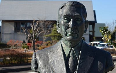 In Yaotsu, Japan, in November 2017, a bust of Chiune Sugihara at the Memorial Hall museum in his honor. (Michael Wilner)