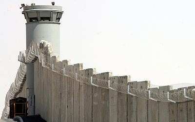 A pillbox-style watchtower along the barrier separating Israel from the West Bank outside the Qalandia checkpoint near Jerusalem on July 31, 2007. (Maya Levin / Flash 90 /File)