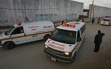 Illustrative image of Palestinian ambulances in Gaza waiting at the Rafah border crossing on January 10, 2008.  (Abed Rahim Khatib/ FLASH90)