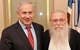Illustrative: Prime Minister Benjamin Netanyahu meets with Rabbi Haim Druckman at the Prime Minister's Office in Jerusalem on February 8, 2012. (Avi Ohayon/GPO/Flash90)