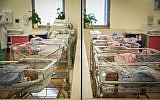 Illustrative: Babies born prematurely at Jerusalem's Shaare Zedek hospital on January 5, 2015. (Hadas Parush/Flash90)