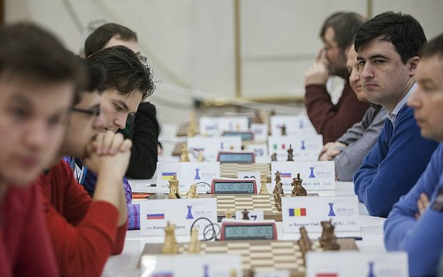 Illustrative: Chess players at a tournament in Jerusalem on February 25, 2015. (Yonatan Sindel/Flash90)