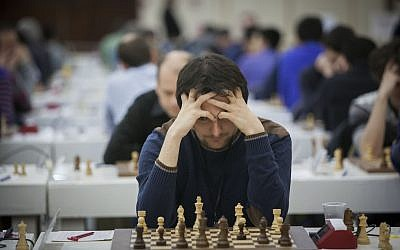 Chess players in action on the second day of the European Individual Chess Championship in Jerusalem, February 25, 2015. (Yonatan Sindel/Flash90)