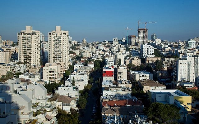 Aerial view of the central Israeli city of Givatiyam. (Moshe Shai/FLASH90)