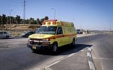 An illustrative photo of an ambulance belonging to the Magen David Adom ambulance service. (Gershon Elinson/Flash90)