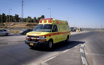 An illustrative photo of an ambulance belonging to the Magen David Adom ambulance service in the West Bank. (Gershon Elinson/Flash90)