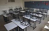Illustrative image of an empty classroom in Jerusalem, August 31, 2016. (Yonatan Sindel/Flash90)