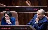 Jewish Home leader Naftali Bennett (R) with Jewish Home MK Ayelet Shaked during a plenum session on November 16, 2016. (Yonatan Sindel/Flash90)