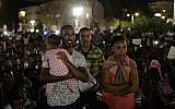 African migrants take part in a protest in Tel Aviv on June 10, 2017, against the 'Deposit Law,' which requires them to deposit 20% of their salary in a fund which they can only take back after they leave the country. (Tomer Neuberg/Flash90)