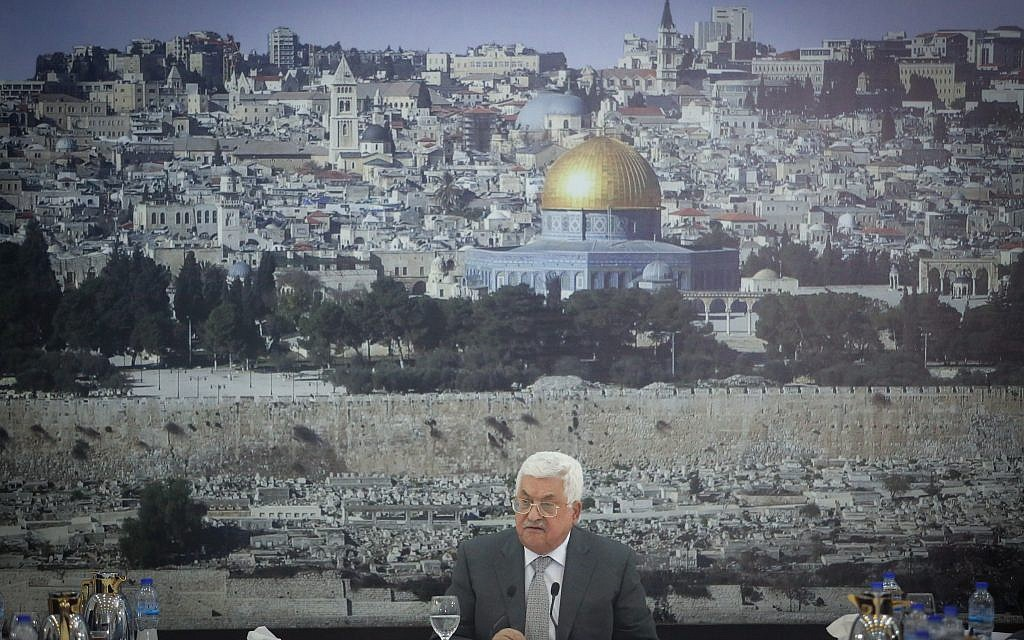 Mahmoud Abbas gives a speech during a meeting of Palestinian leadership in the West Bank city of Ramallah on July 21, 2017. (FLASH90)