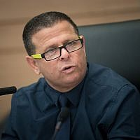 Economic Affairs Committee Chairman, MK Eitan Cabel (Zionist Union), leads an a committee meeting, at the Knesset, in Jerusalem on July 26, 2017. (Yonatan Sindel/Flash90)